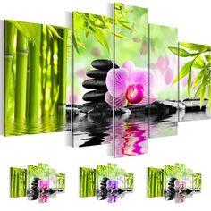 Top Bilder + Kunstdrucke 5020516a Feng Shui, Bild auf Leinwand , 110 x 60 cm, Blumen, Orchidee, Bambus, Steine 5 Teile grün lila Wandbild