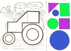 аппликация Трактор из геометрических фигур