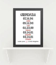 GRANDKIDS make your days a little brighter print. Gift idea
