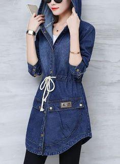 Buy Coats, Online Shop, Women& Fashion Coats for Sale - Floryday in 2020 Denim Fashion, Trendy Fashion, Girl Fashion, Womens Fashion, Estilo Jeans, Coats For Women, Clothes For Women, Denim Coat, Warm Outfits
