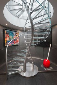 contemporary metal and glass spiral staircase