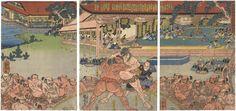 The Great Wrestling Match Before Yoritomo and His Son Sanetomo: Chokyo Wrestling with Chikatsune by Kuniyoshi /  右大将頼朝公相撲御覧図 国芳