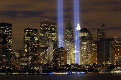 911 Memorial Blue Lights Wallpaper