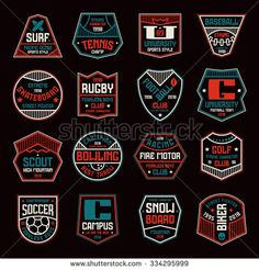 Set of sports badges. Soccer, bowling, baseball, tennis and other. Color print on black background