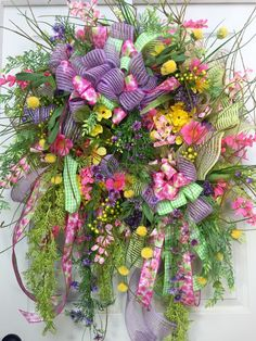 Premium XL Spring or Summer Wildflower Mesh Wreath by WilliamsFloral on Etsy https://www.etsy.com/listing/287908025/premium-xl-spring-or-summer-wildflower