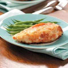 Parmesan Crusted Chicken. Hubby had this at BJ's last week and can't wait for me to learn it!