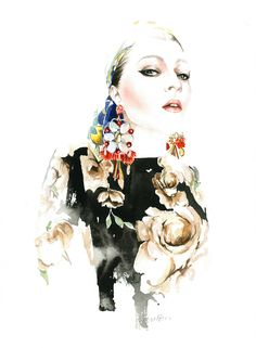 Fashion Illustration by Antonio Soares - Exploring his the strength within is delicate work exclusive Dolce&Gabbana reinterpretations
