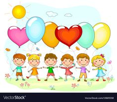 Group of children with balloons. Cartoon kids with balloons in nature. Balloon Illustration, Nature Illustration, Kindergarten Interior, Balloon Cartoon, Space Classroom, Graphic Design Programs, Cute Clipart, Bullet Journal Ideas Pages, School Decorations