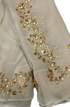 Shop online for Off White Gota Work Chiffon Saree Gota Patti Suits, Gota Patti Saree, Organza Saree, Chiffon Saree, Off White Saree, Simple Pakistani Dresses, Indian Dresses, Cut Up Shirts, Embroidery Suits