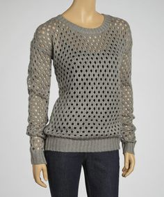 Take a look at this Heather Gray Loose-Knit Sweater by Yoki on #zulily today!
