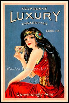 Egyptienne Luxury Cigarettes 1920s Ad Tru by RosiesVintageArt