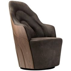 Varnished Walnut Couture Armchair 1
