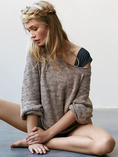 Orion Sweater | Super soft loose knit sweater with exposed seams, ribbed collar and hem.