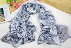 popular new fashionable ms long cotton scarves white black flower scarf