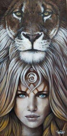 brown - woman with lion - Symbiose - painting - Sophie Wilkins Animal Drawings, Art Drawings, Art Et Design, Lion Love, Lion Painting, Magic Realism, Lion Art, Animal Totems, Spirit Animal