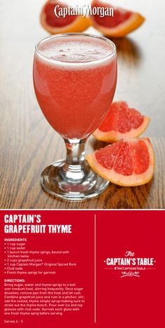 Captain's Grapefruit Thyme: A light and refreshing Spring cocktail infused with a botanical surprise.
