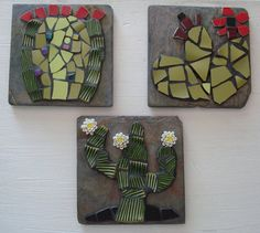 CACTUS ART TILE Barrel Cactus Mosaic on Slate door bluetileMosaics