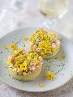 Recette de Tartare saumon crevettes et mangue