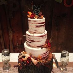 Six layer red velvet, almond buttercream, autumn rustic wedding cake with a white chocolate antler, for a good friend. Love that she chose a semi-naked cake!