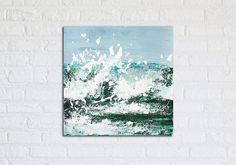 "Great Wave Ocean Painting Art Acrylic Original // ""Awakening"" 16 x 16"" Canvas"