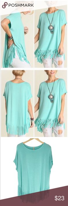 ❤️ Fringe Tunic Tee (Runs Big) Generously sized fringe tee is perfect for spring and summer! 95% rayon 5% spandex. Made in the USA. 30 inches long including fringe. Chest measures 27 inches across from armpit to armpit.  It has a very loose fit.  💋  🔺Questions? Please ask.  🔺I want your Poshmark experience to be easy & enjoyable. 🔺Thank you for shopping at Posh Mishmosh. Tops
