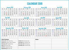 Calendar 2019 Free Printable With Holidays Printable Calendar 2019 with Notes 2019 Holiday Calendar India Related