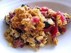 Baked apples and mixed berries with a crispy topping of oats and brown sugar. 3…