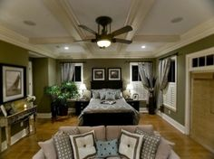 Bedroom Ideas. Love the white woodwork and black furniture by Nina<3
