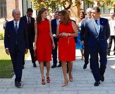 Foro Hispanico de Opiniones sobre la Realeza: Queen Letizia of Spain inaugurates the annual meeting with director of Cervantes Institutes at Museo Ruso San Petersburgo on July 24 2017 in Malaga, Spain.