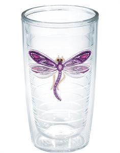 Shimmer Layered Purple Dragonfly  - 16oz tumbler