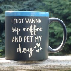 Funny Chalkboard Message Coffee Mug Cup I Just Wanna Sip Coffee and Pet My Dog With Liquid Chalk Marker to add your own message. This is a 22 oz. black chalkboard coffee mug with our own design sandblasted into this quality cup (color of top ring may vary from photo). Humorous message will bring a smile to their face even if they are not a morning person! With each coffee cup we include a liquid chalk marker so that you may add a personal message of your own. It wipes off clean with a…