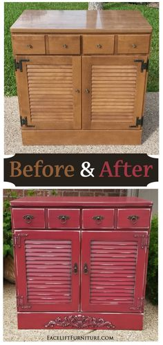 Maple Cabinet in distressed Barn Red with Black Glaze ~ Before & After. Find more painted, glazed & distressed inspiration on our Pinterest boards, or on the Facelift Furniture DIY blog.