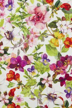 Bavlněná látka Velké květy a motýli De luxe  bb9bec96bab