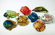 Funny Fish   White polymer clay coloured with alcohol inks Sylvie Peraud style. These will eventually be a mobile to hang over the baby's cot.