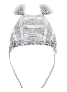 Baby knit zig zag beanie with pom pom ears and tie. Available in 2 colours.Cotton.
