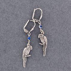 Sadie Green's Tropical Rhinestone Parrot Earrings