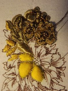 Padding in Goldwork Couture Embroidery, Embroidery Fashion, Silk Ribbon Embroidery, Embroidery Thread, Embroidery Patterns, Textiles, Gold Work, Embroidery Techniques, Textile Art