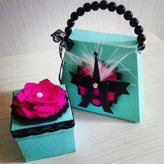 Caixinha e bolsinha em scrap tema Paris Tiffany