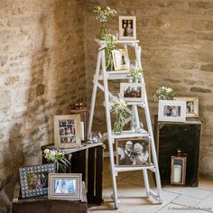 vintage wedding ideas to display family photos with ladder # vintage Weddings 23 Ways to Remember Loved Ones at Your Wedding - Oh Best Day Ever Wedding Crates, Ladder Wedding, Wedding Props, Wedding Table, Fall Wedding, Rustic Wedding, Wedding Ideas, Wedding Memory Table, Wedding Ceremony