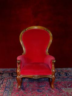 Queen Anne Style Rocking Chair Ruby Red by FurnitureClassics, $700.00. 05/13/14JHB oh how I would LOVE to have this!!! TFS. Queen Anne Furniture, Queen Anne Chair, Ruby Red, Rocking Chair, Armchair, Antiques, Salons, Gem, Chairs
