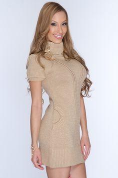 Gold Open Knit Tinsel Detail Sweater Dress