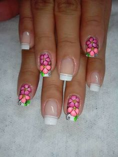 Uñas French Manicure Gel Nails, Manicure E Pedicure, Glam Nails, Beauty Nails, Nail Art Designs, Fingernail Designs, Flower Nail Designs, Perfect Nails, Gorgeous Nails