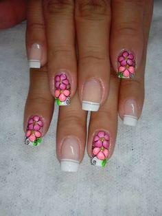 Uñas Nail Art Designs, Fingernail Designs, Flower Nail Designs, Perfect Nails, Gorgeous Nails, Love Nails, French Manicure Gel Nails, Manicure E Pedicure, Fingernails Painted