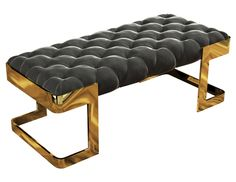 The Winfrey bench has a solid and strong feminine touch. Featuring capitonné upholstery in black cotton velvet, this piece is embraced with a gold plated brass structure adding a special taste and synergy to any striking luxury interior project.