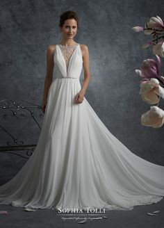 mon cheri bridals Y21747 Aries - Chiffon sleeveless wedding dress with illusion back. Misty chiffon A-line gown with hand-beaded and embroidered illusion jewel neckline, plunging V-neck gathered chiffon bodice with crystal encrusted beaded waist, illusion back features zipper trimmed with diamante buttons and matching beading and embroidery, finely gathered skirt with chapel length train.