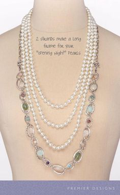 A strand from the Sugar Rush Necklace with Opening Night Necklace a awesome combo!!! Premier Designs Collection