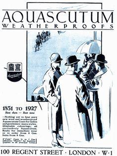 1927 ad for Aquascutum weatherproofs (rain coats). #vintage #1920s #menswear…