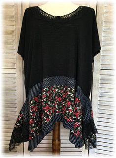 Upcycled Clothing Tunic Top Summer 2X to 3X Romantic Lagenlook