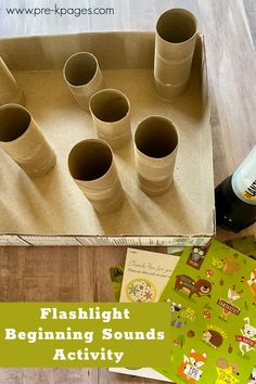 Flashlight Literacy Activity for Your Camping Theme - Pre-K Pages Small Group Activities, Phonics Activities, Literacy Skills, Early Literacy, Wordless Book, Pre K Pages, Rhyming Words, Beginning Sounds, Camping Theme