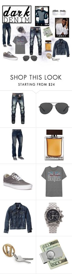 """""""Menswear Essential: Dark Denim"""" by rozisgold ❤ liked on Polyvore featuring Michael Kors, Affliction, Dolce&Gabbana, Vans, JEM, Old Navy, Breitling, American Coin Treasures, Yves Saint Laurent and men's fashion"""